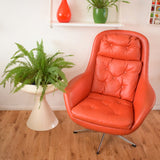 Vintage 1960s Vinyl / Metal Space Age Easy Chair  - Orange