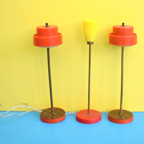 Vintage 1960s Lundby Dolls House Standard Lamps / Lighting / Fire - Orange & Yellow