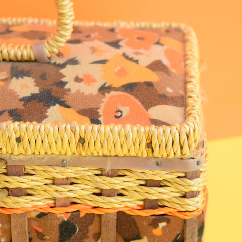 Vintage 1970s Sewing / Hobby Box - Woven Wicker & Fabric Design - Orange & Brown
