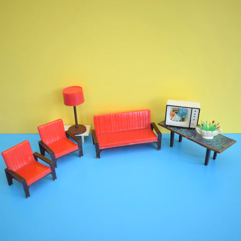 Vintage 1970s Plastic Dolls House Lounge Furniture Set & Accessories