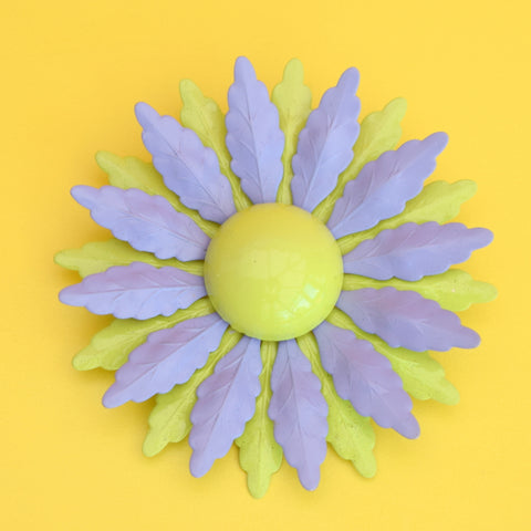 Vintage 1970s Enamel Brooch Pin - Flower Design, Lavender & Lime Green