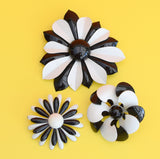 Vintage 1970s Enamel Brooch Pin - Flower Design, Black & White (Choice Of Design)