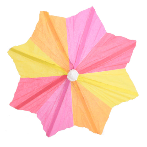 Retro Octagonal Cocktail Paper Umbrella x 12 Mixed Colours
