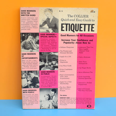 Vintage 1960s Guide To Etiquette Book - American