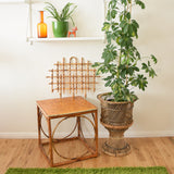 Vintage 1950s Bamboo Side Table - Natural Finish, Unusual Design