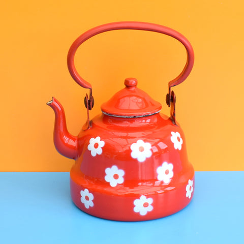 Vintage 1960s Small Enamel Tea Pot / Kettle - Red Flower Power