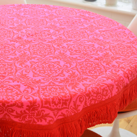 Vintage 1970s Casa Pupo Round Tablecloth - Pink & Red