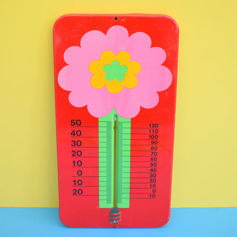 Vintage 1970s Laurids Lonborg Flower Power Thermometer - Pink & Red