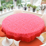 Vintage 1970s Casa Pupo Round Tablecloth / Rug - Pink & Red