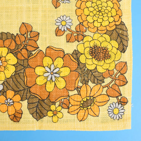 Vintage 1970s Fabric Placemat Pair - Flower Power - Mustard