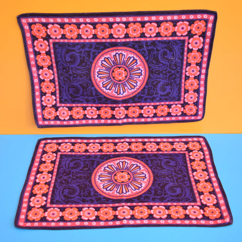 Vintage 1970s Fabric Placemat Pair - Flower Power - Pink