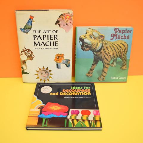 Vintage 1970s Paper Mache & Decoupage Books - Choose From Selection