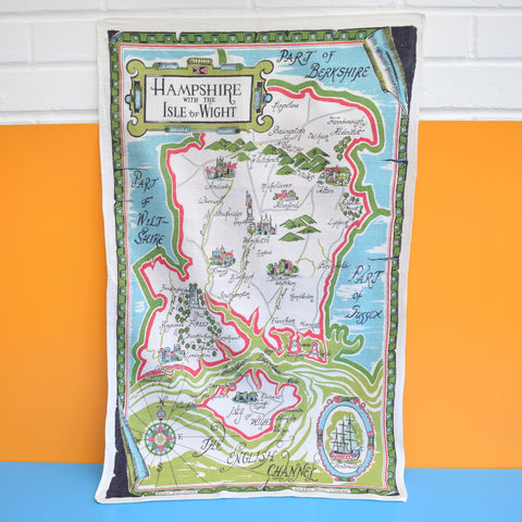 Vintage 1970s Tea Towel - Hampshire / Waterways