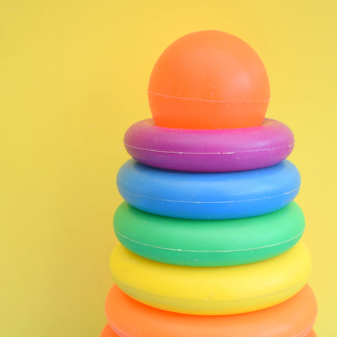 Vintage 1980s Plastic Stacking Ring Toy - Rainbow