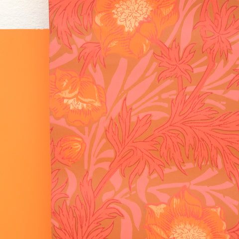 Vintage 1960s Hand Printed Wallpaper - Orange, Pink, Red (Part Roll)