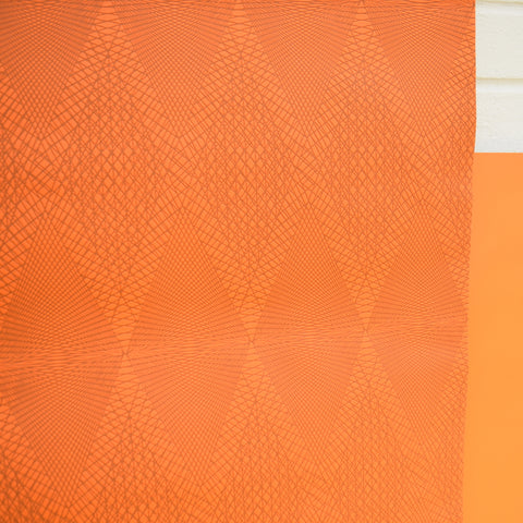 Vintage 1960s Vinyl Textured Wallpaper - Orange Geometric / Op Art