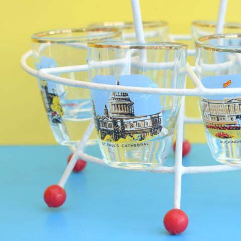 Vintage 1960s Set of 6 Shot Glasses - London Designs On Atomic Stand