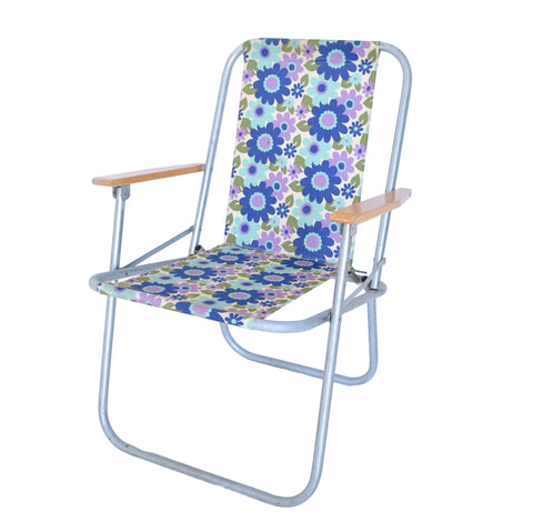 Vintage 1970s Garden Chair - Flower Power Design, Blue, Purple