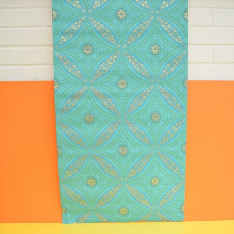 Vintage 1960s Heavy Weight Wallpaper - Turquoise / Sky Blue