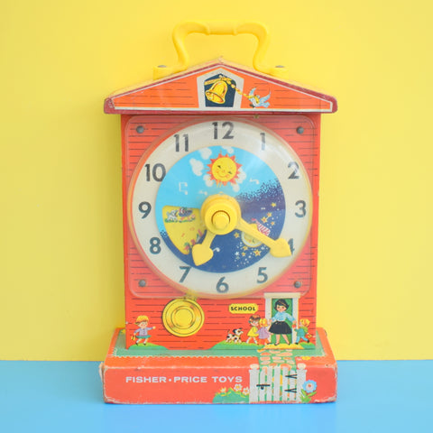 Vintage 1960s Fisher Price Music Box Teaching Clock - Wooden