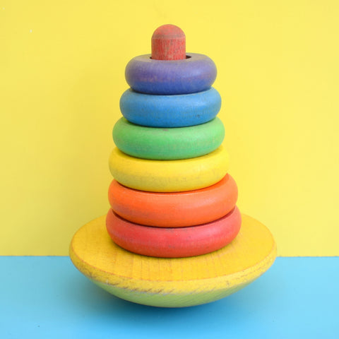 Vintage 1960s Wooden Stacking Rocking Ring Toy - Rainbow