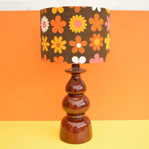 Vintage 1960s Brown Ceramic Table Lamp - Flower Power Genia Sapper Shade, Orange & Brown