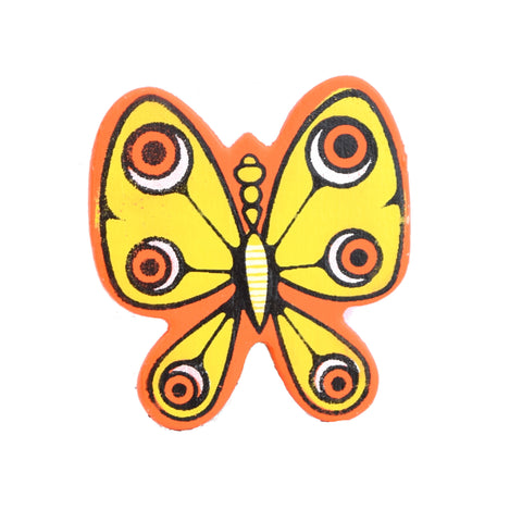 Vintage Kitsch 1960s Wooden, Butterfly Paper Clip, Orange & Yellow