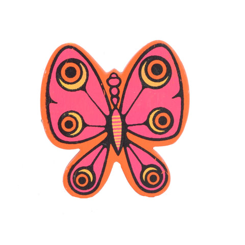 Vintage Kitsch 1960s Wooden, Butterfly Paper Clip, Orange & Pink