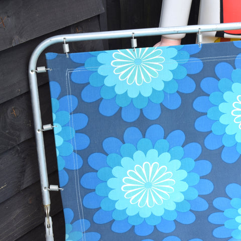 Vintage 1970s Garden Sun Lounger - Blue Flower Power .
