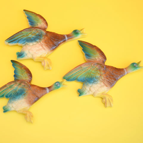Vintage 1950s Ceramic / Plaster Flying Ducks - Wall Decor