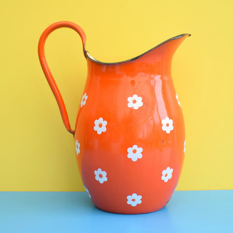 Vintage 1960s Enamel Water Jug - Flower Design - Orange