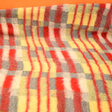 Vintage 1950s Tartan Blanket / Throw - Red, Grey, Yellow