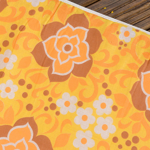 Vintage 1960s Garden Cushion / Mattress - Yellow Flower Power