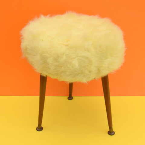 Vintage 1960s Small Fluffy Atomic Stool - Pale Yellow
