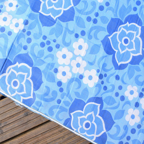 Vintage 1960s Garden Cushion / Mattress - Blue Flower Power
