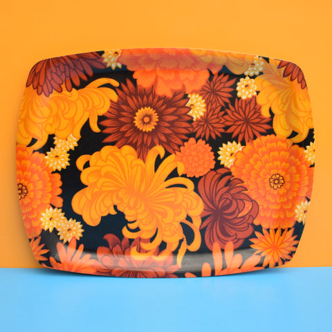 Vintage 1960s Flower Power Thetford Tray - Orange .