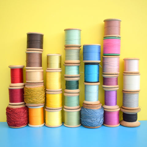 Vintage 1960s Wooden Cotton/ Silk Thread Reels - Great Display & Use  x32