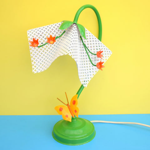 Vintage Metal Flower / Butterfly Table Lamp - White, Orange & Green