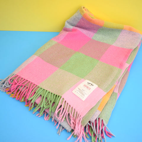 Retro Irish 100% Wool - Avoca Picnic Blanket / Throw - Pink /Yellow /Green