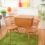 Vintage 1960s Ercol Drop Leaf Dining Table & 4 Curved Back Dining Chairs - Elm & Beech Wood (Light)