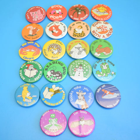 Vintage 1980s Library / Book Badges - Various Themes