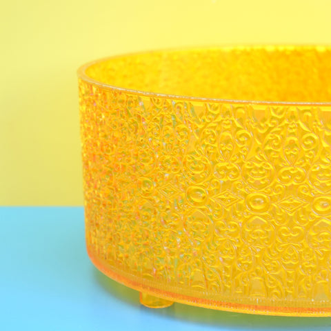 Vintage 1960s Textured Plastic Fruit / Serving Bowl - Yellow