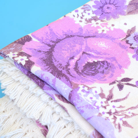 Vintage 1960s Single Bed Cover - Textured Weave With Fringe - Flower Power - Purple