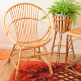 Vintage 1960s Bamboo Chair Or Plant Stand - Natural Finish