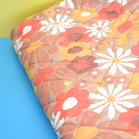 Vintage 1960s Double Bed Cover / Pillow Covers - Flower Power - Orange & Brown
