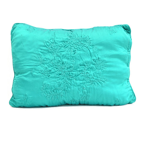 Vintage 1950s Cushion - Embroidered Satin, Emerald Green