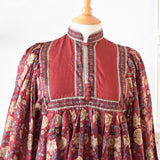 Vintage 1970s Silk Phool Dress - Maroon, Gold & Blue