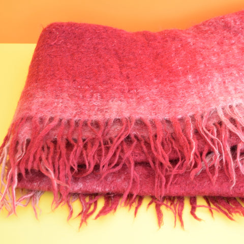 Vintage 1960s Mohair Small Blanket / Throw, Raspberry Pink