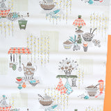 Vintage 1950s Hand Printed Wallpaper - Atomic Kitchen Scene