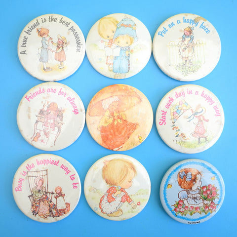 Vintage 1980s Badges - Holly Hobby Style x9, Christmas, Isle Of Wight